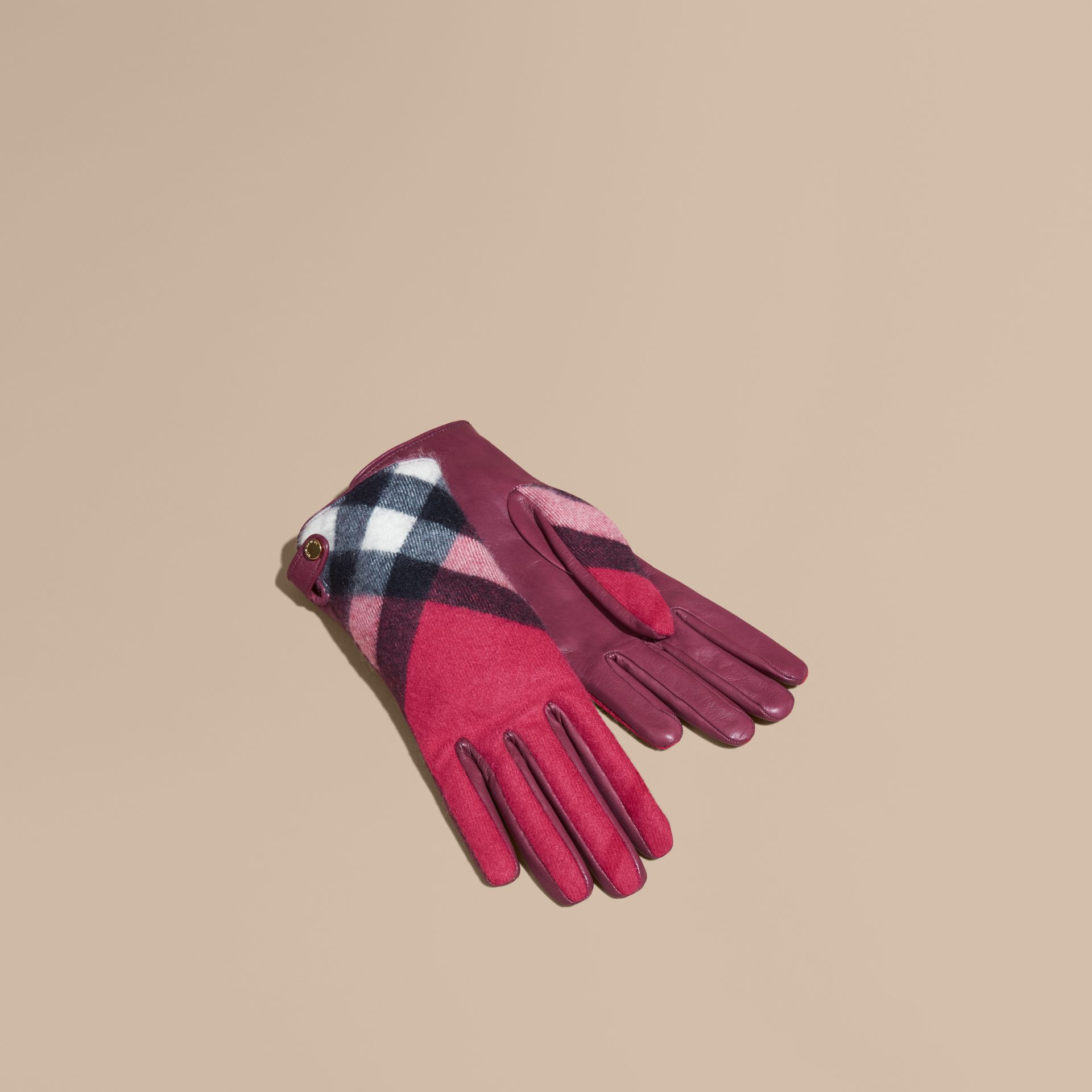 Leather and Check Cashmere Gloves Fuchsia - gallery image 1