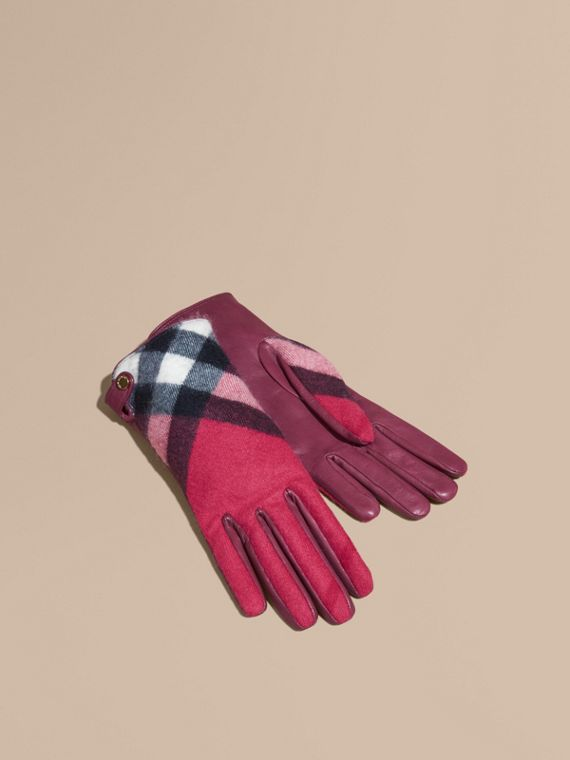 Leather and Check Cashmere Gloves Fuchsia