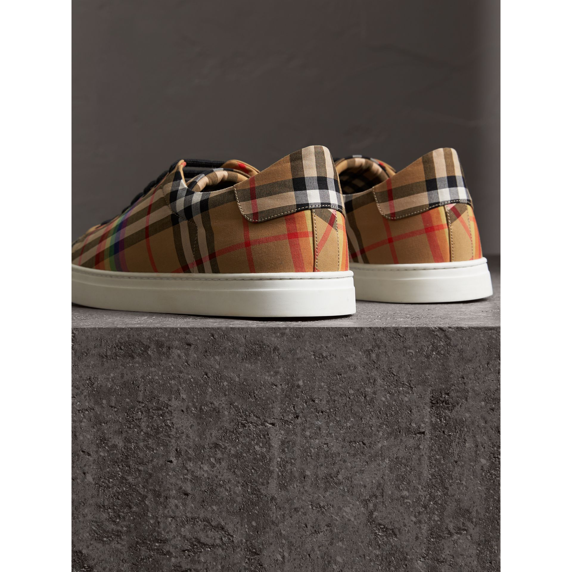 Rainbow Vintage Check Sneakers in Antique Yellow - Men | Burberry Australia - gallery image 3