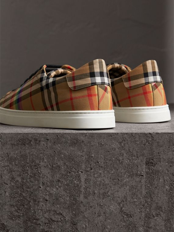 Rainbow Vintage Check Sneakers in Antique Yellow - Men | Burberry Singapore - cell image 3
