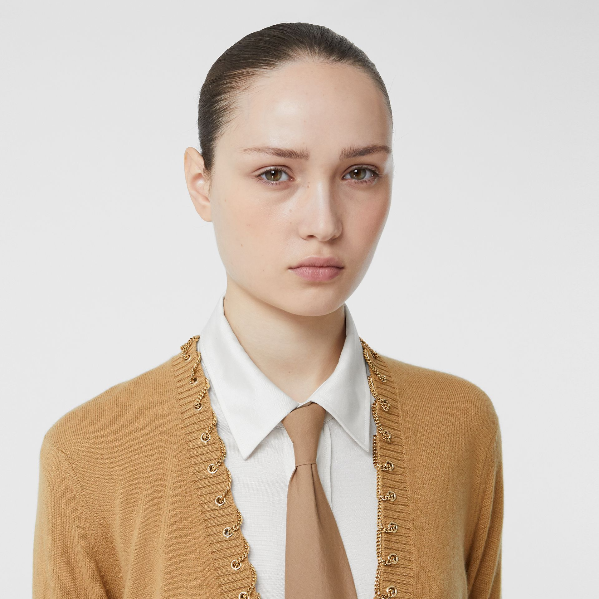 Chain Detail Cashmere Sweater in Camel - Women | Burberry United Kingdom - gallery image 1