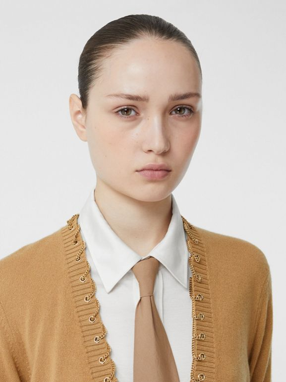 Chain Detail Cashmere Sweater in Camel - Women | Burberry United Kingdom - cell image 1