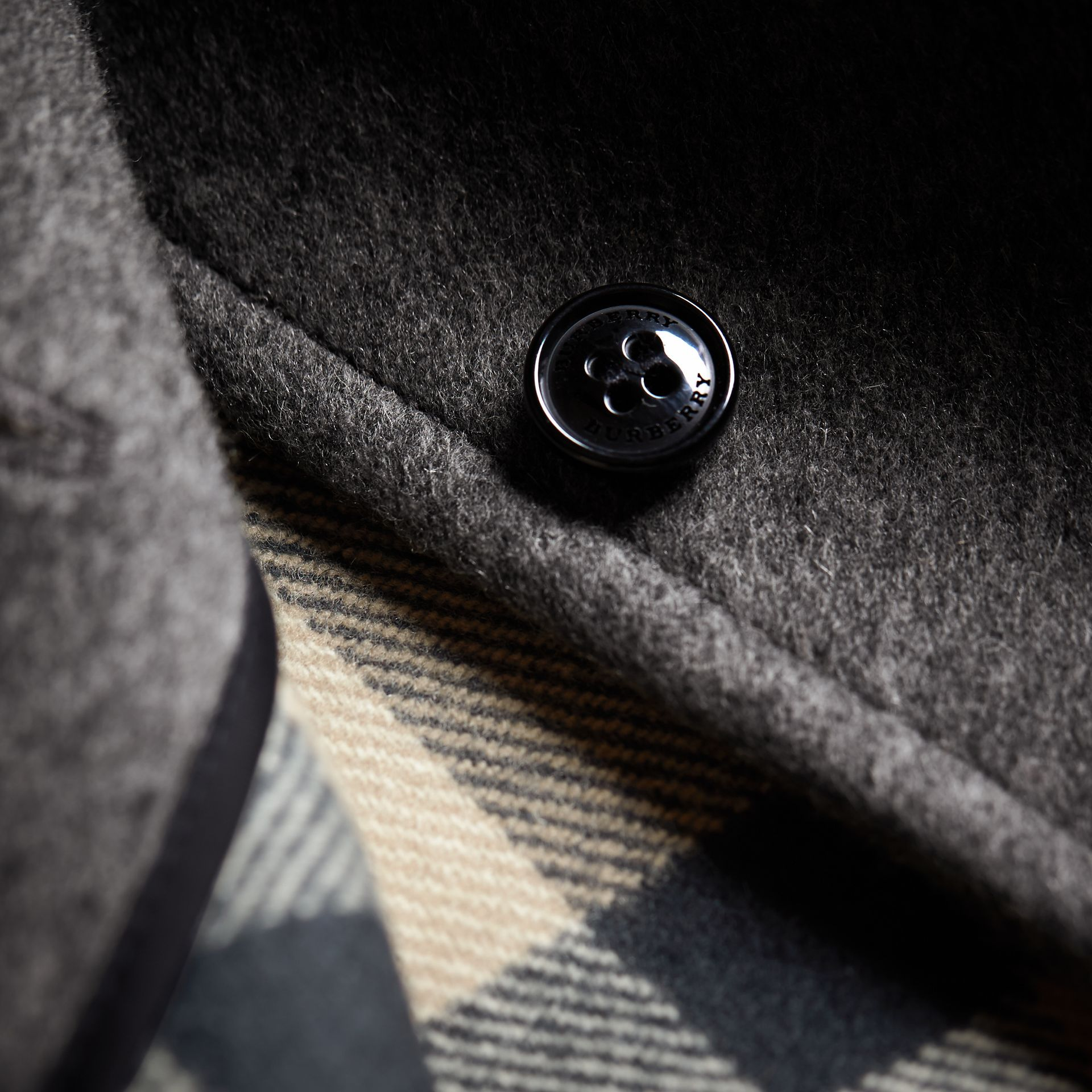 Hooded Check Detail Wool A-line Cape in Mid Grey Melange - Girl | Burberry - gallery image 1