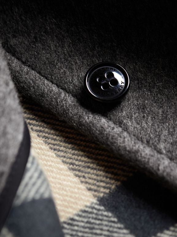 Hooded Check Detail Wool A-line Cape in Mid Grey Melange | Burberry United States - cell image 1