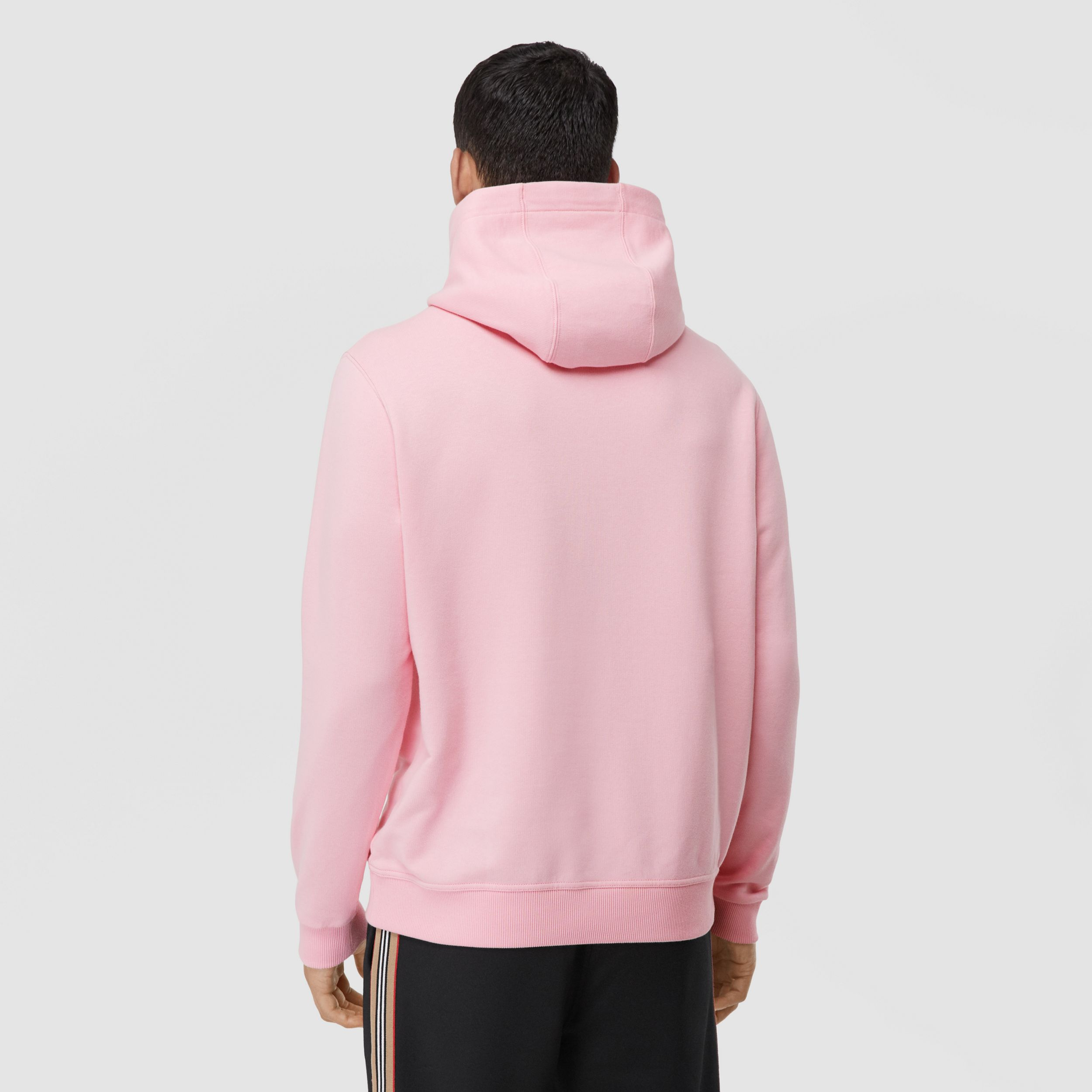 Logo Graphic Cotton Hoodie in Candy Pink - Men | Burberry - 3