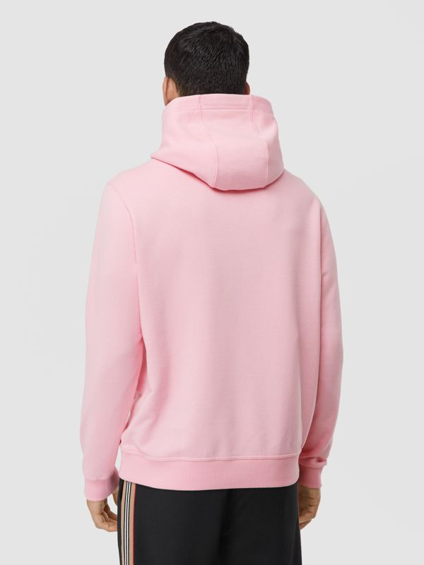 Logo Graphic Cotton Hoodie in Candy Pink - Men | Burberry - cell image 2