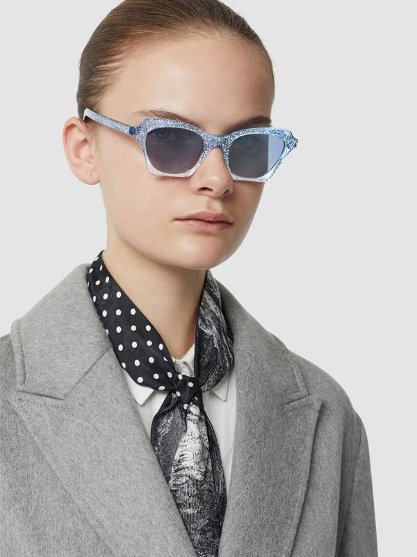 Butterfly Frame Sunglasses in Blue - Women | Burberry United Kingdom - cell image 2