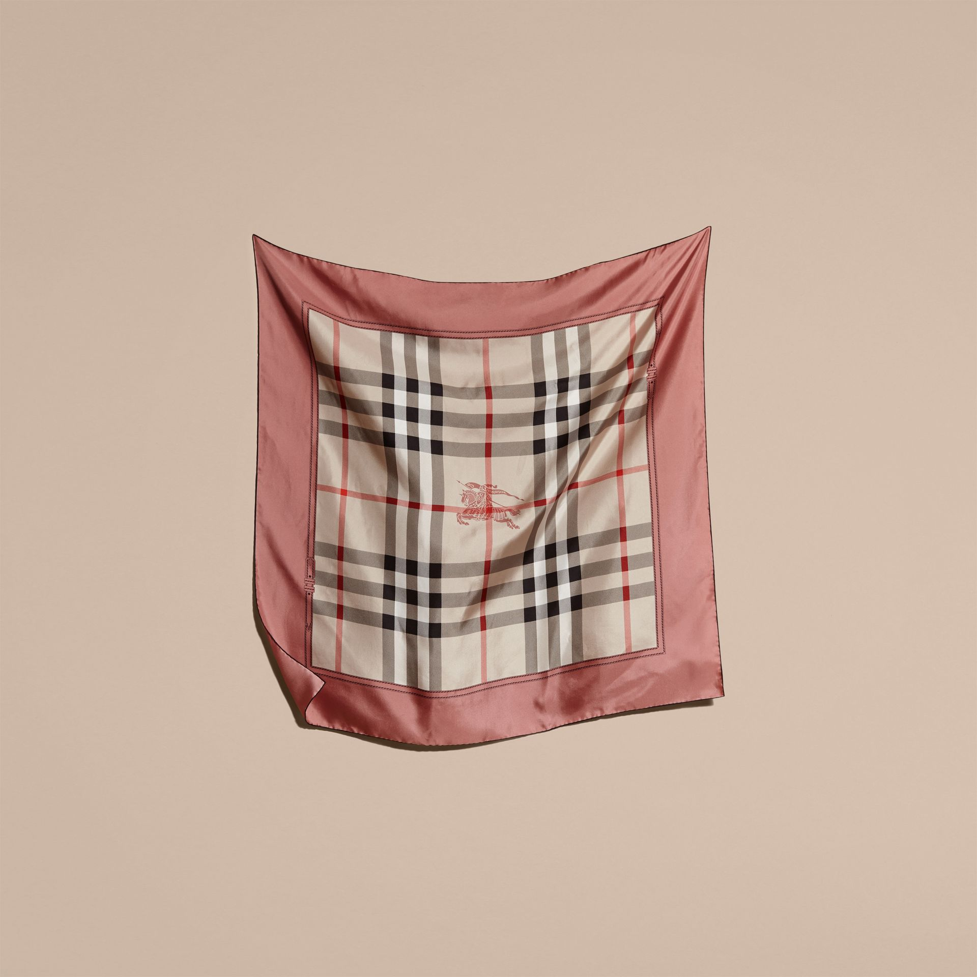 Antique pink Horseferry Check Silk Square – Medium Antique Pink - gallery image 5