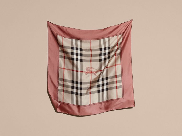 Antique pink Horseferry Check Silk Square – Medium Antique Pink - cell image 4