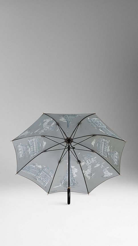 Taupe grey print Paris Landmarks Walking Umbrella - Image 2