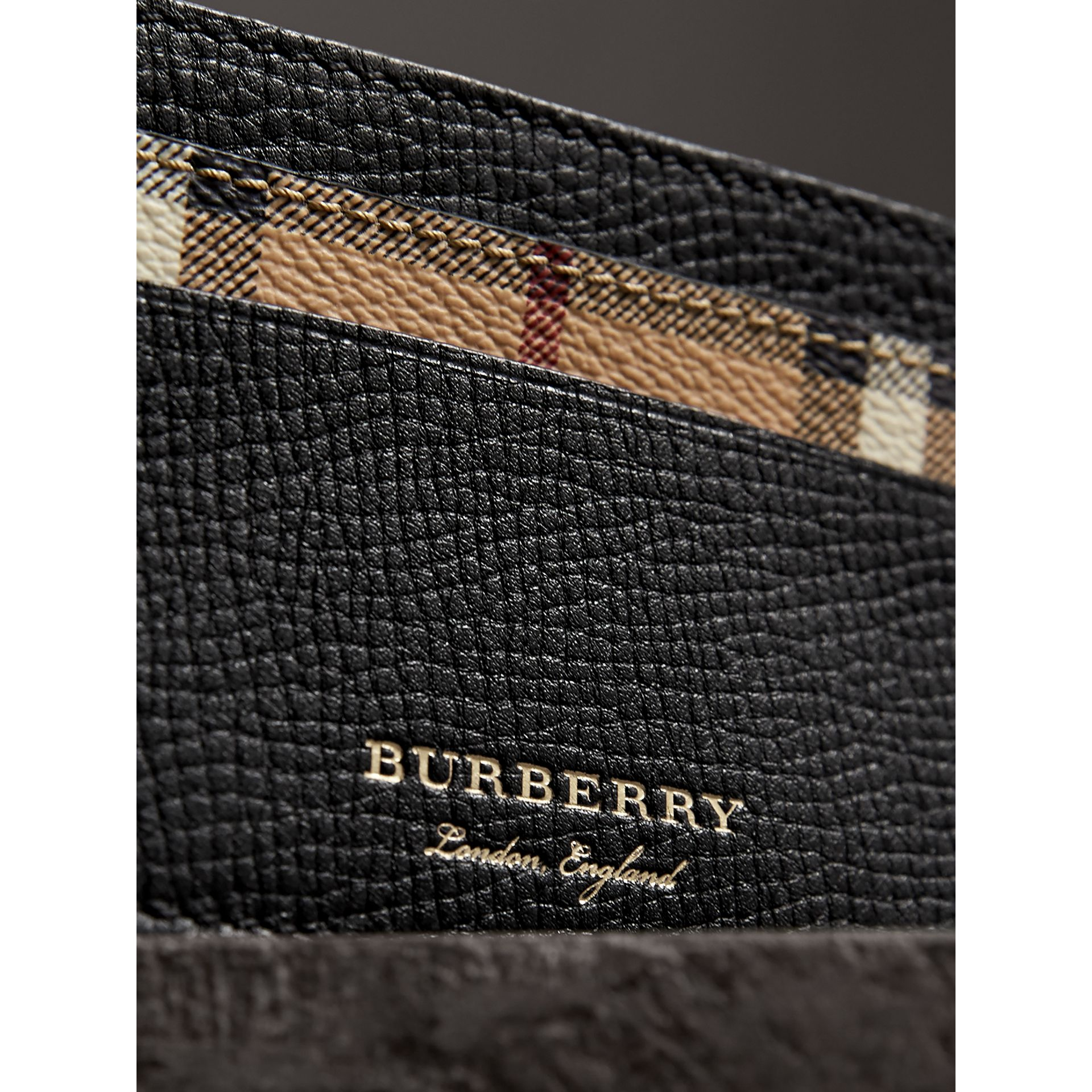 Haymarket Check and Leather Card Case in Black | Burberry - gallery image 1