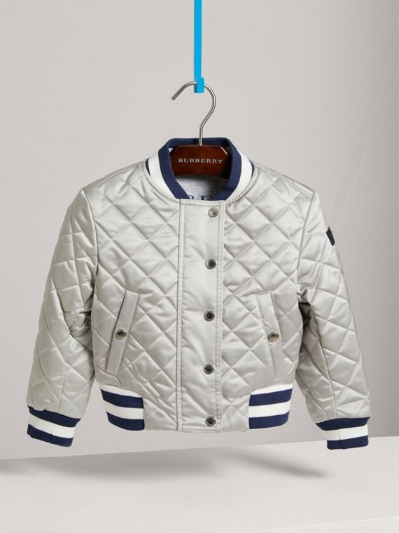 Stripe Detail Diamond Quilted Satin Bomber Jacket in Silver