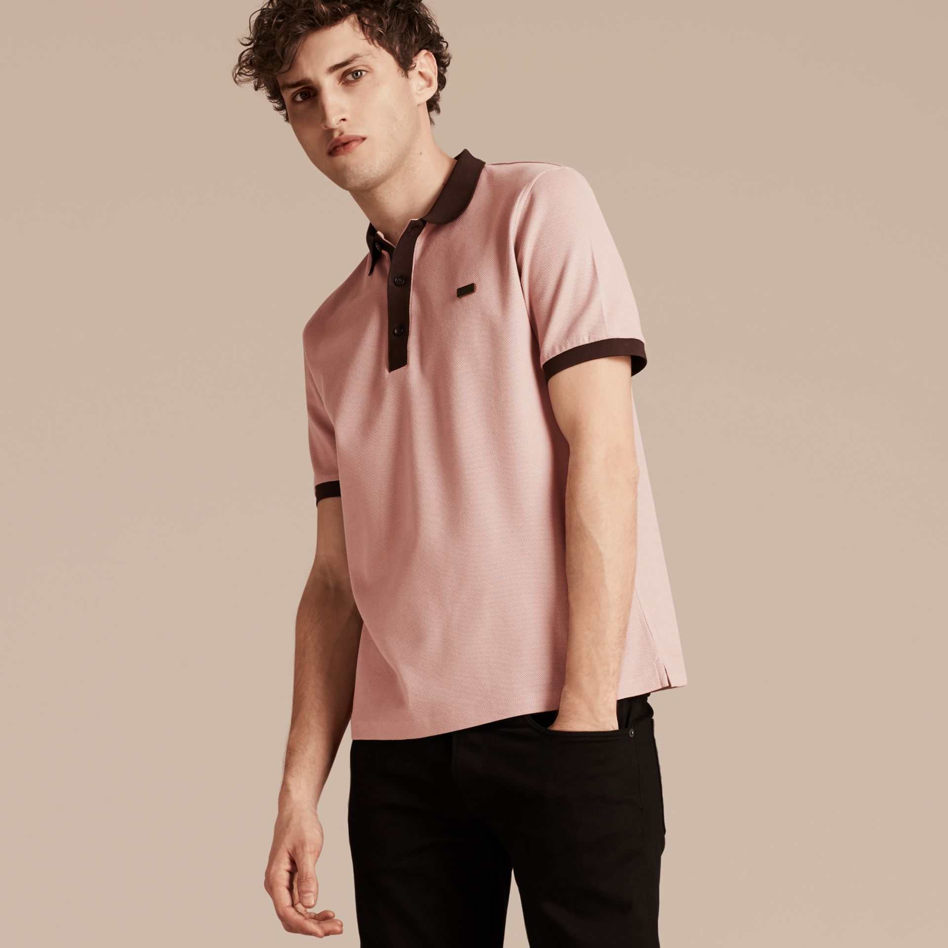 Slate pink/burgundy red Mercerised Cotton Piqué Polo Shirt Slate Pink/burgundy Red - gallery image 5