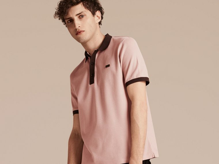 Slate pink/burgundy red Mercerised Cotton Piqué Polo Shirt Slate Pink/burgundy Red - cell image 4