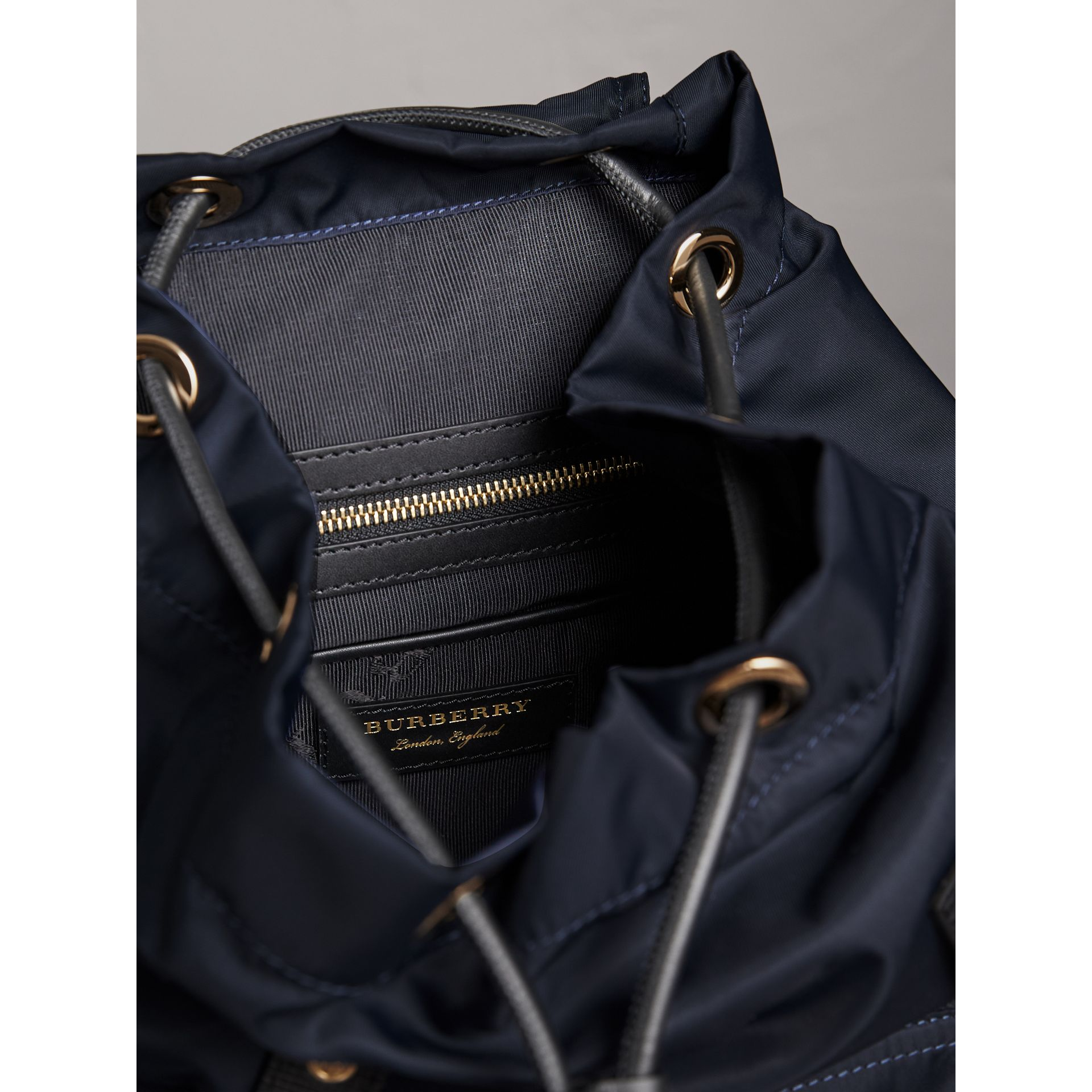 The Medium Rucksack in Technical Nylon and Leather in Ink Blue - Women | Burberry Singapore - gallery image 4