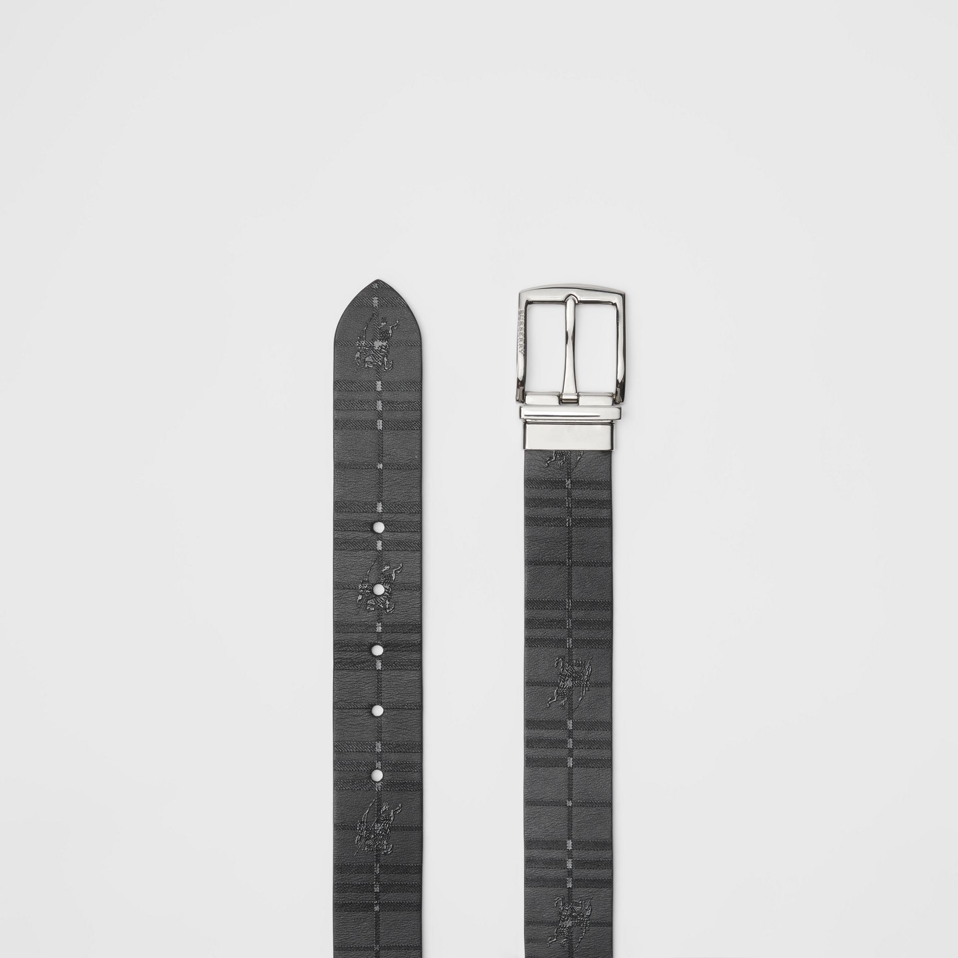 Reversible EKD Check Leather Belt in Black - Men | Burberry - gallery image 5