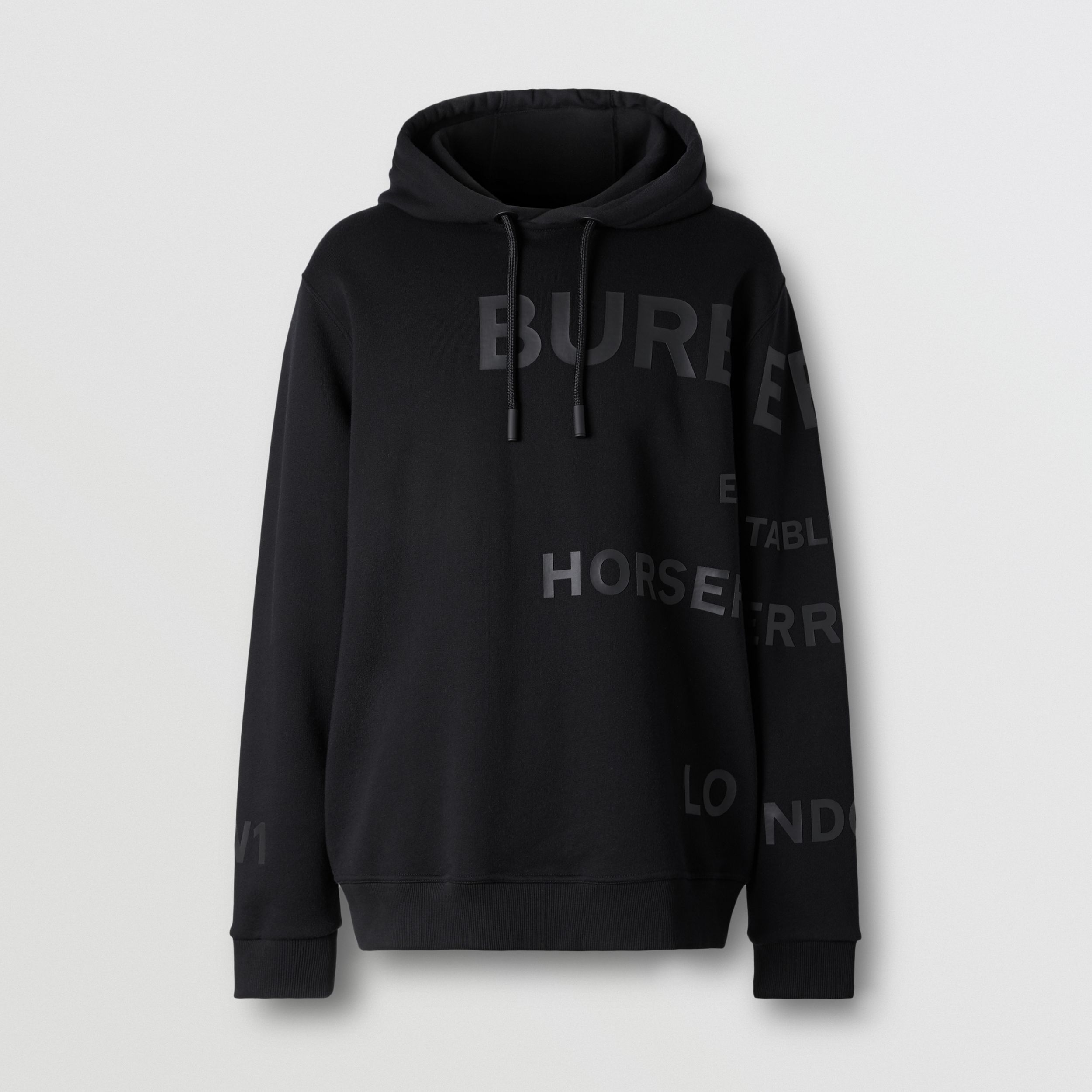 Horseferry Print Cotton Hoodie in Black - Men | Burberry - 4