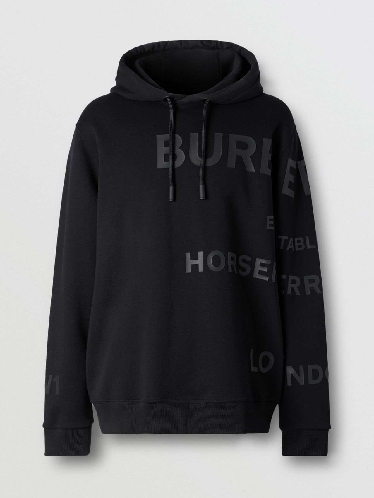 Horseferry Print Cotton Hoodie in Black