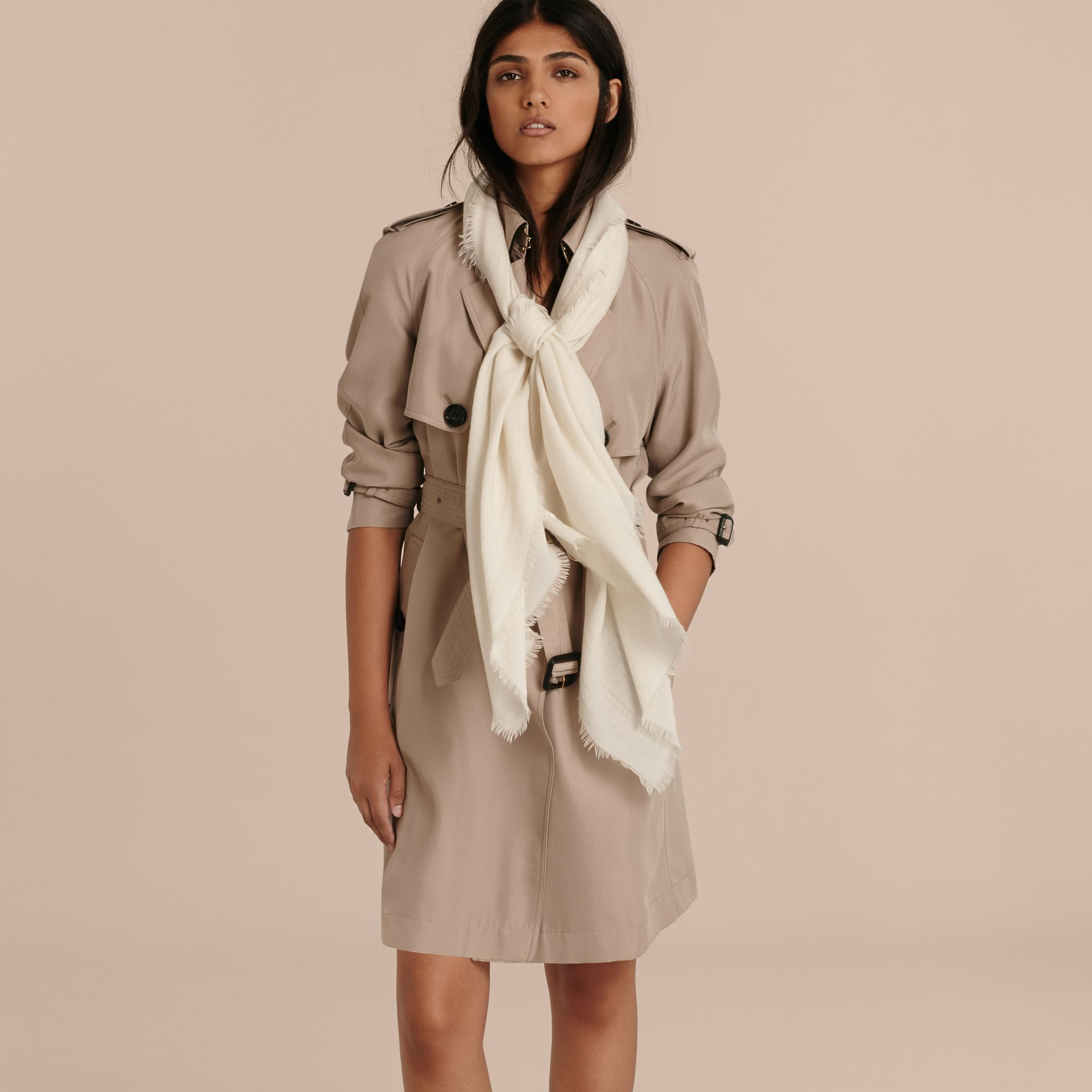 The Lightweight Cashmere Scarf in Natural White - gallery image 3
