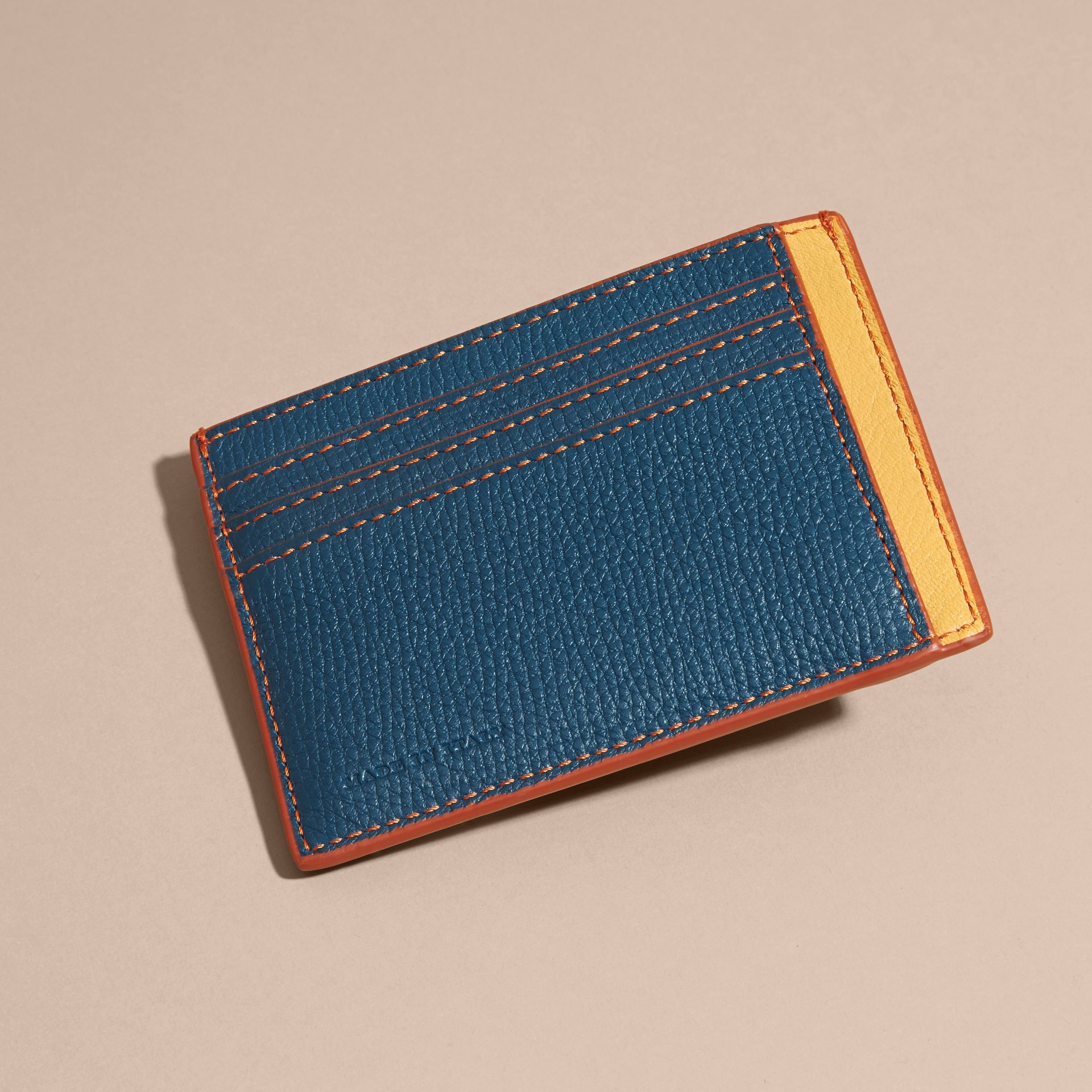 Marine blue Colour Block Leather Card Case Marine Blue - gallery image 4