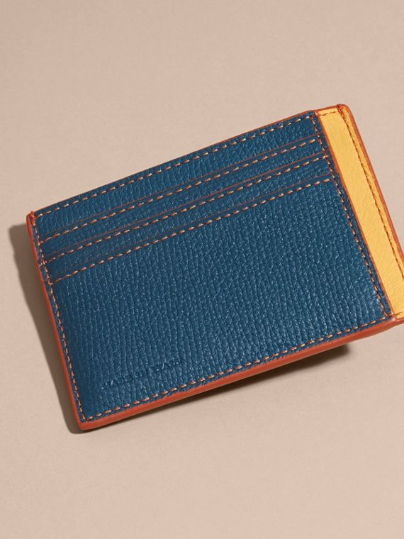 Colour Block Leather Card Case Marine Blue - cell image 3