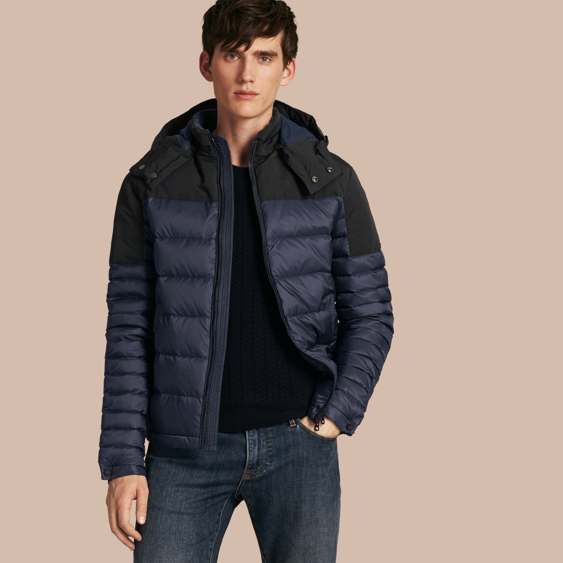Navy Mid-weight Down-filled Technical Puffer Jacket Navy - gallery image 1