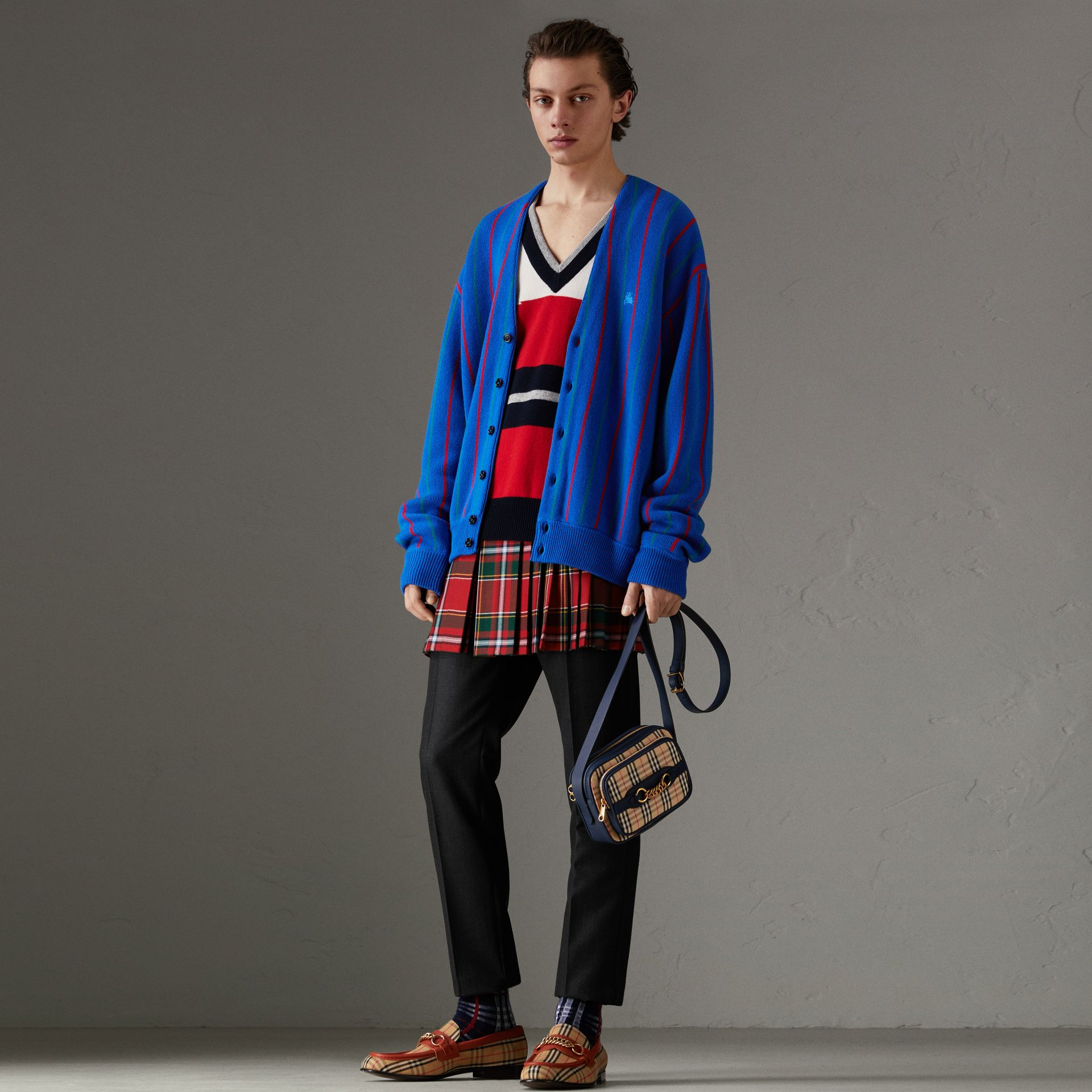 Reissued Striped Wool Cardigan in Royal Blue - Men | Burberry United States - gallery image 0