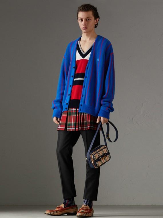 Reissued Striped Wool Cardigan in Royal Blue