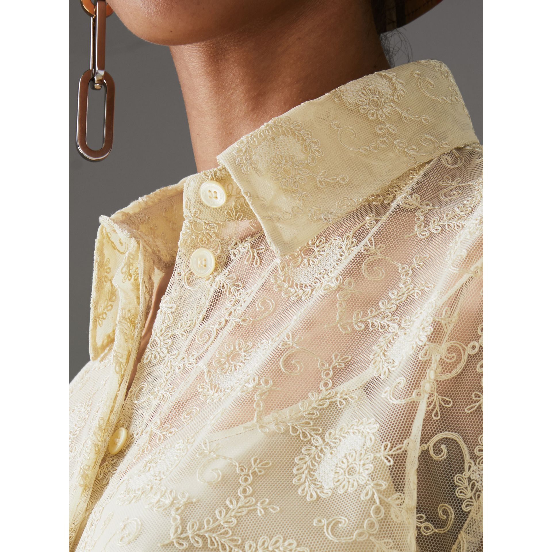 Floral Lace Shirt in Pale Yellow - Women | Burberry - gallery image 1