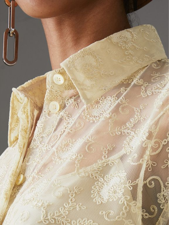 Floral Lace Shirt in Pale Yellow - Women | Burberry Hong Kong - cell image 1