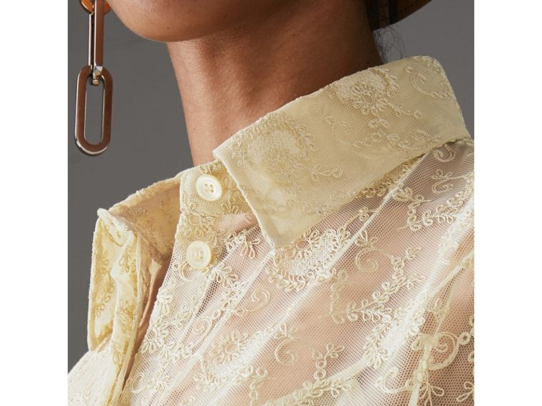 Floral Lace Shirt in Pale Yellow - Women | Burberry Australia - cell image 1