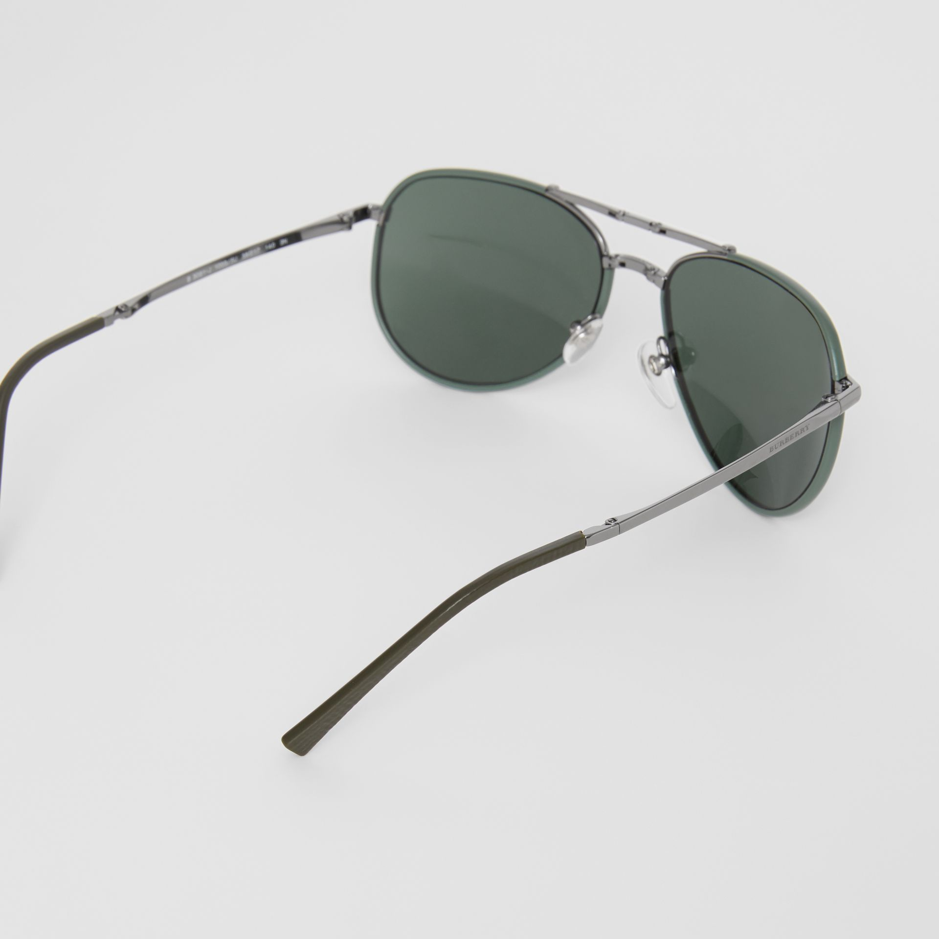 Folding Pilot Sunglasses in Dark Olive - Men | Burberry - gallery image 4