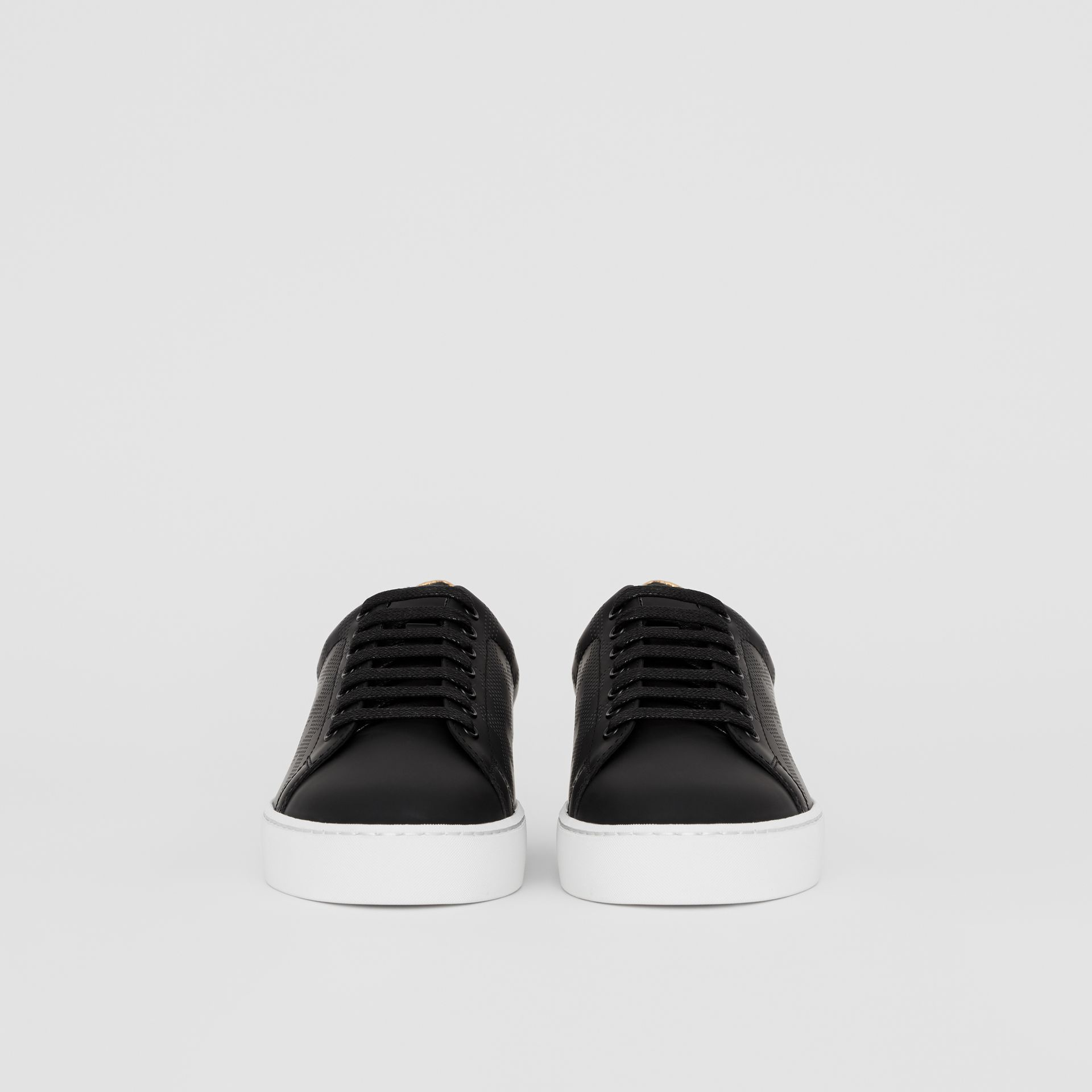 Perforated Check Leather Sneakers in Black - Women | Burberry United Kingdom - gallery image 3
