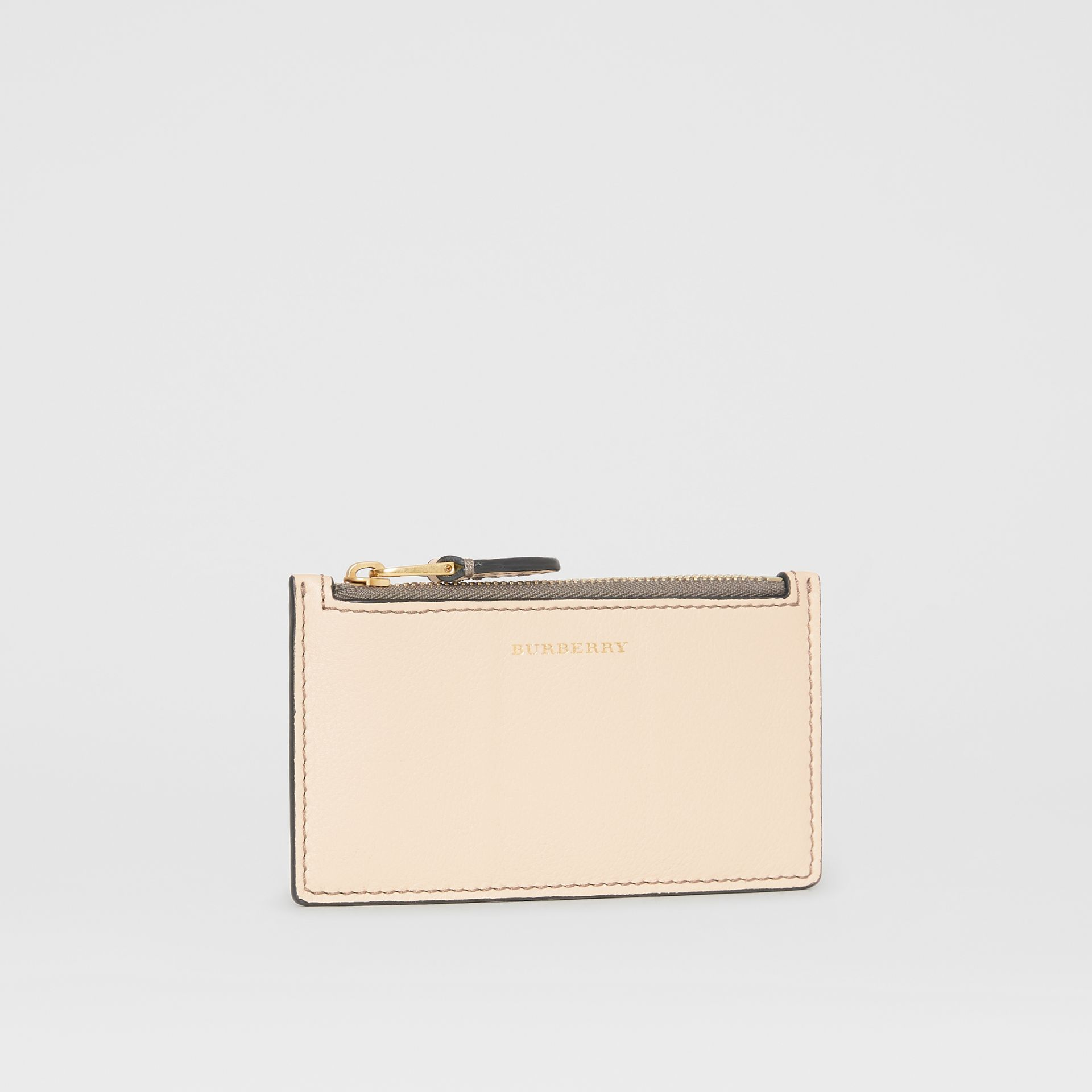 Two-tone Leather Card Case in Limestone | Burberry - gallery image 3
