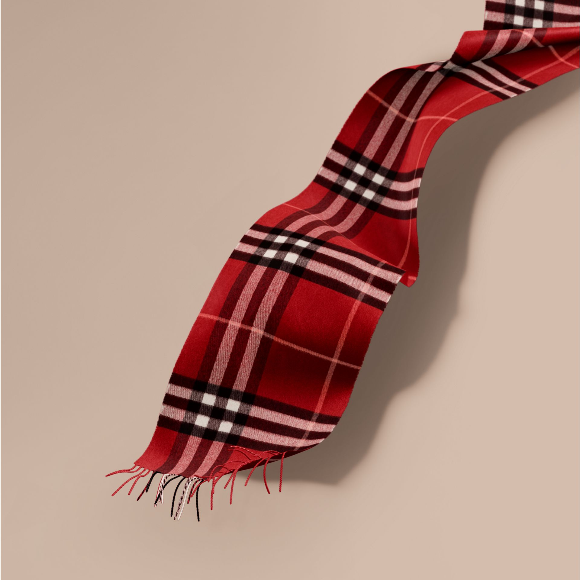 The Classic Cashmere Scarf in Check in Parade Red | Burberry - gallery image 1