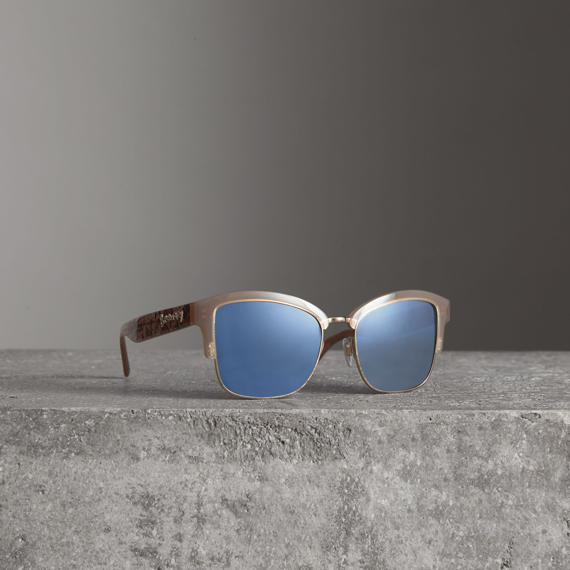 Doodle Square Frame Sunglasses in Trench - Women | Burberry Australia - gallery image 0
