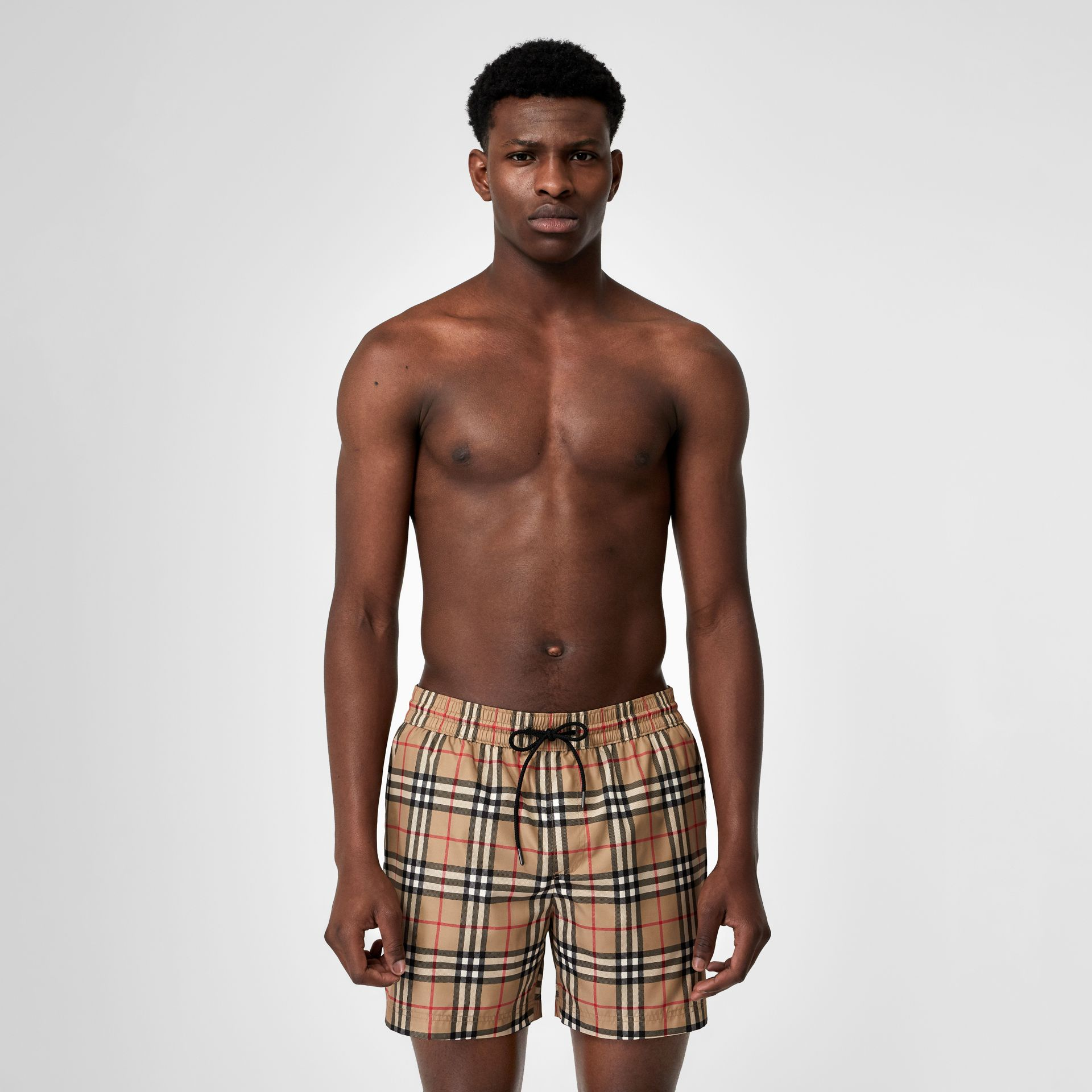 Vintage Check Drawcord Swim Shorts in Archive Beige - Men | Burberry United Kingdom - gallery image 0
