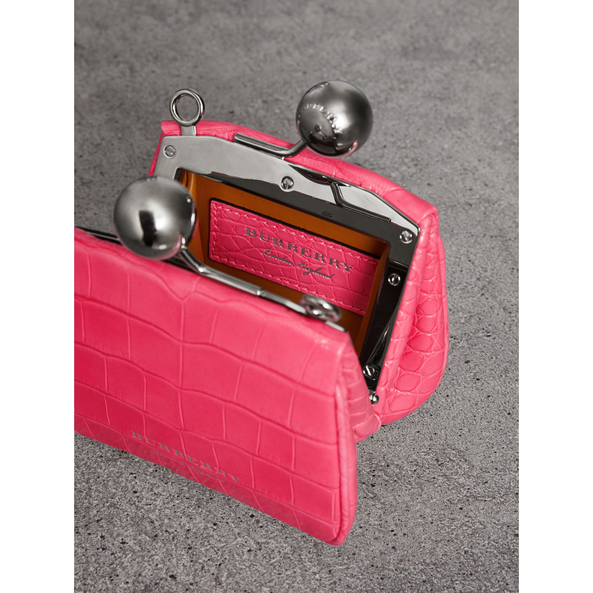 Mini Alligator Metal Frame Clutch Bag in Neon Pink - Women | Burberry Hong Kong - gallery image 4