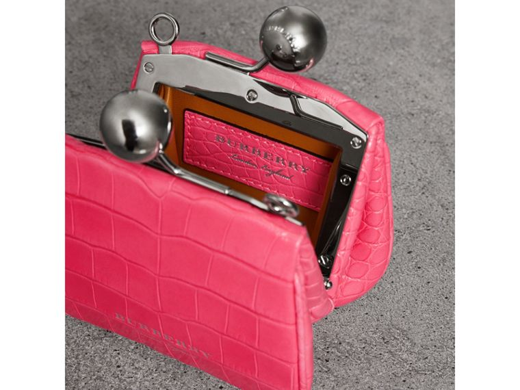 Mini Alligator Metal Frame Clutch Bag in Neon Pink - Women | Burberry Hong Kong - cell image 4