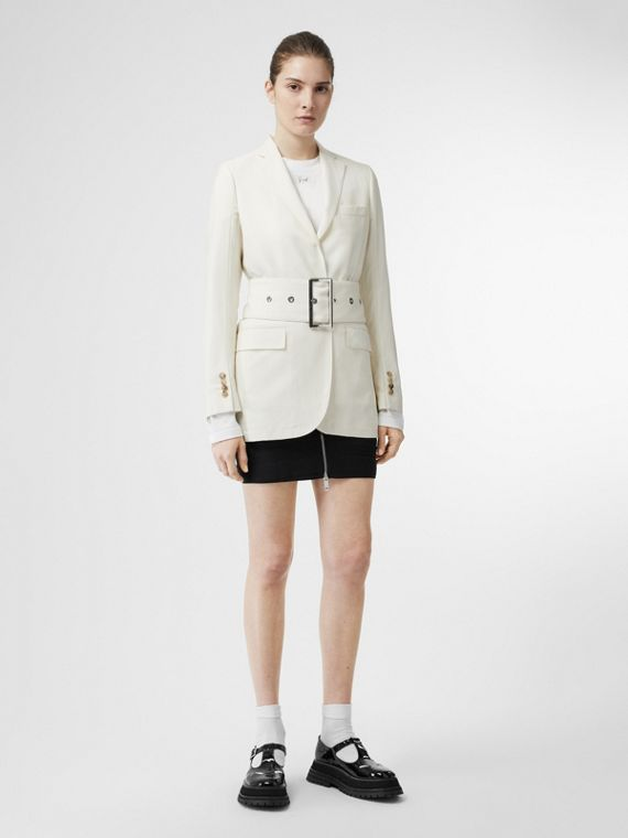 Wool Belted Blazer in White