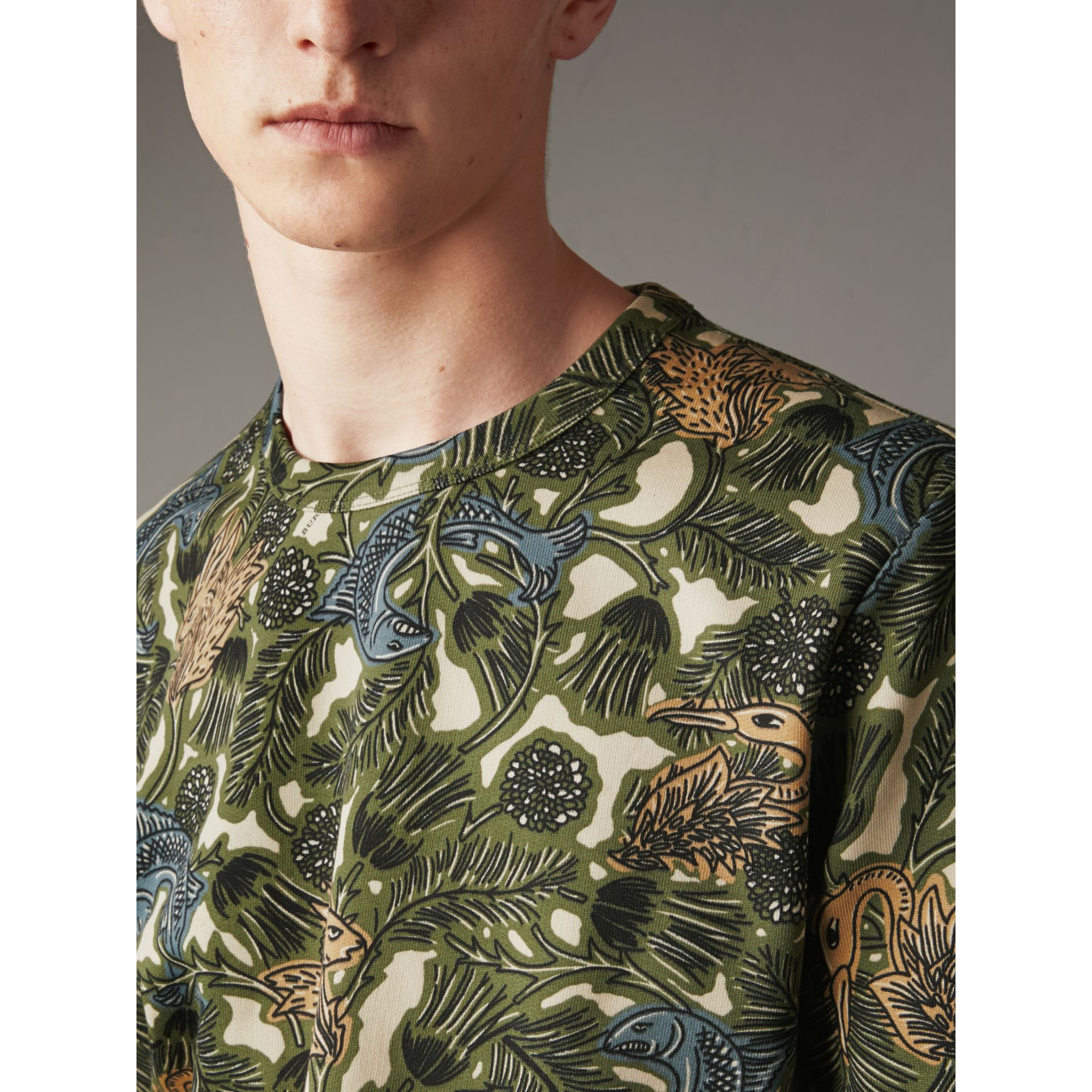 Beasts Print Cotton Sweatshirt in Sage Green - Men | Burberry - gallery image 2