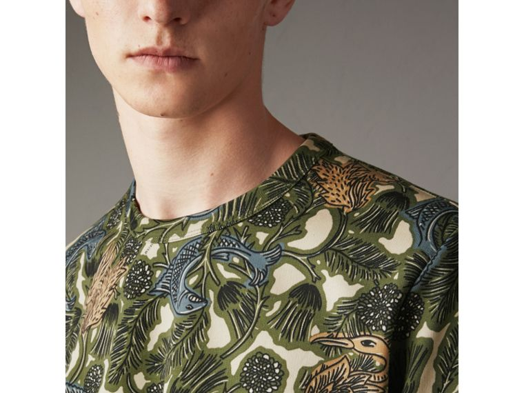 Beasts Print Cotton Sweatshirt in Sage Green - Men | Burberry - cell image 1