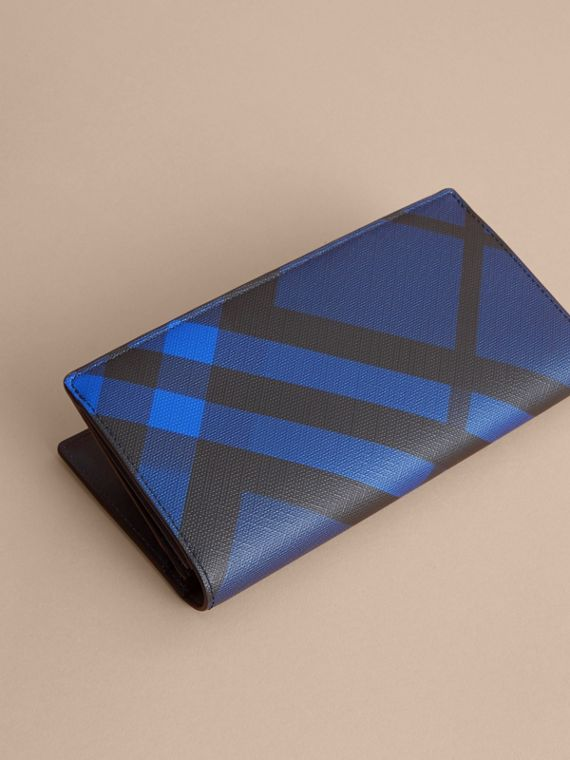 London Check and Leather Continental Wallet in Bright Lapis - Men | Burberry - cell image 2