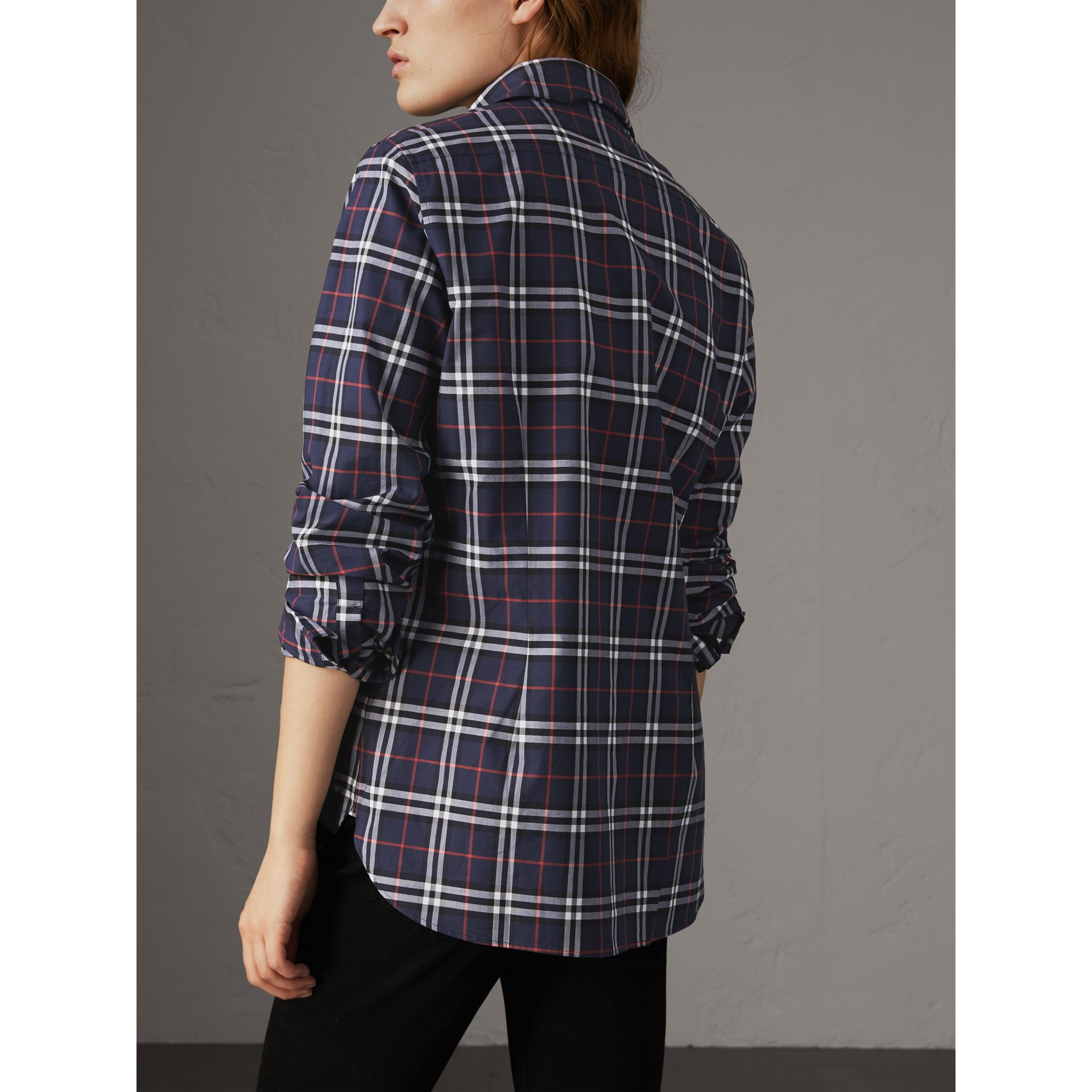 Check Cotton Shirt in Navy - Women | Burberry - gallery image 3