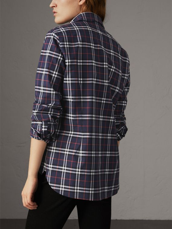 Check Cotton Shirt in Navy - Women | Burberry - cell image 2