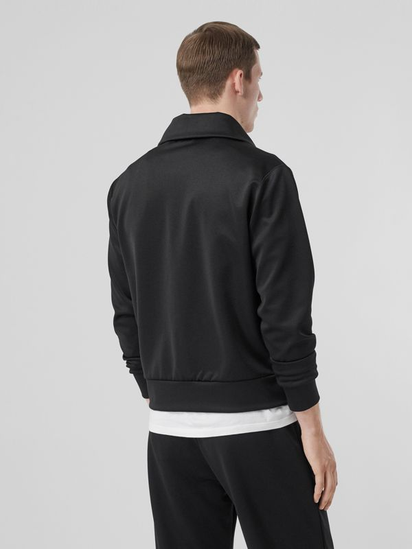 Logo Graphic Jersey Funnel Neck Track Top in Black - Men | Burberry - cell image 2