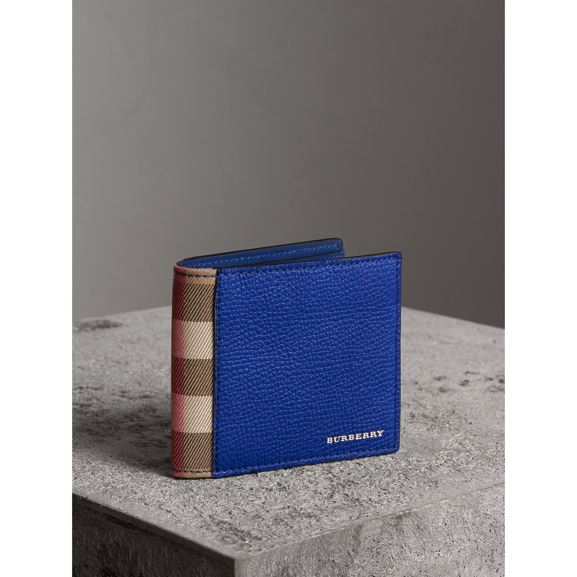 Leather and House Check International Bifold Wallet in Deep Blue | Burberry - gallery image 1