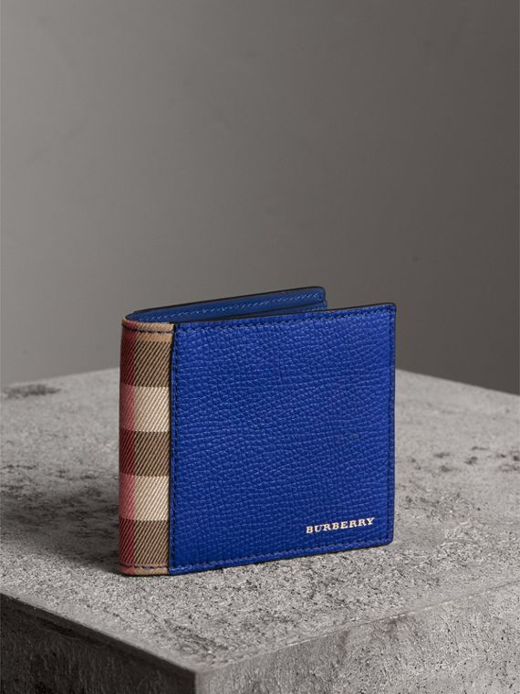 Leather and House Check International Bifold Wallet in Deep Blue