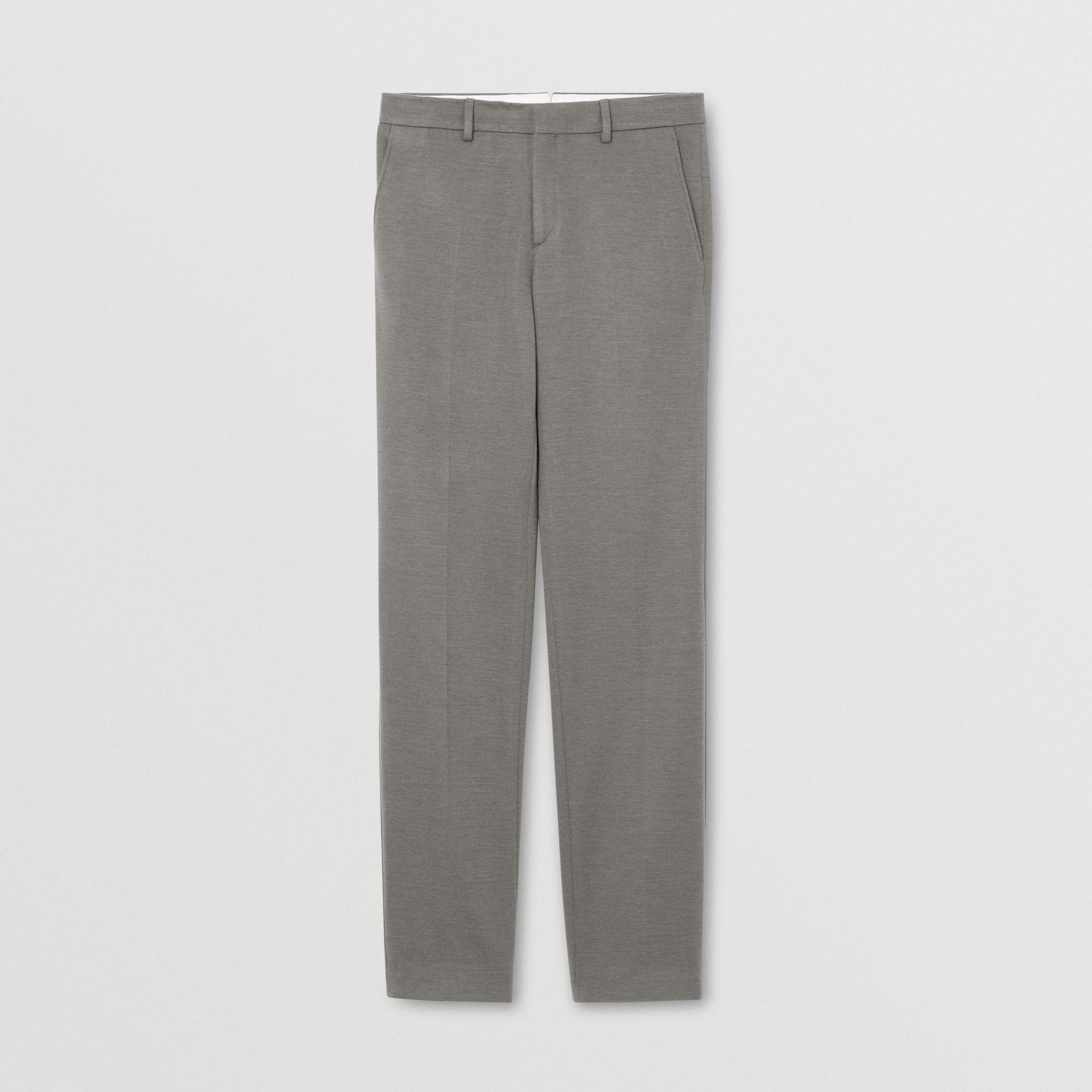 English Fit Cashmere Silk Jersey Tailored Trousers in Cloud Grey | Burberry - gallery image 3