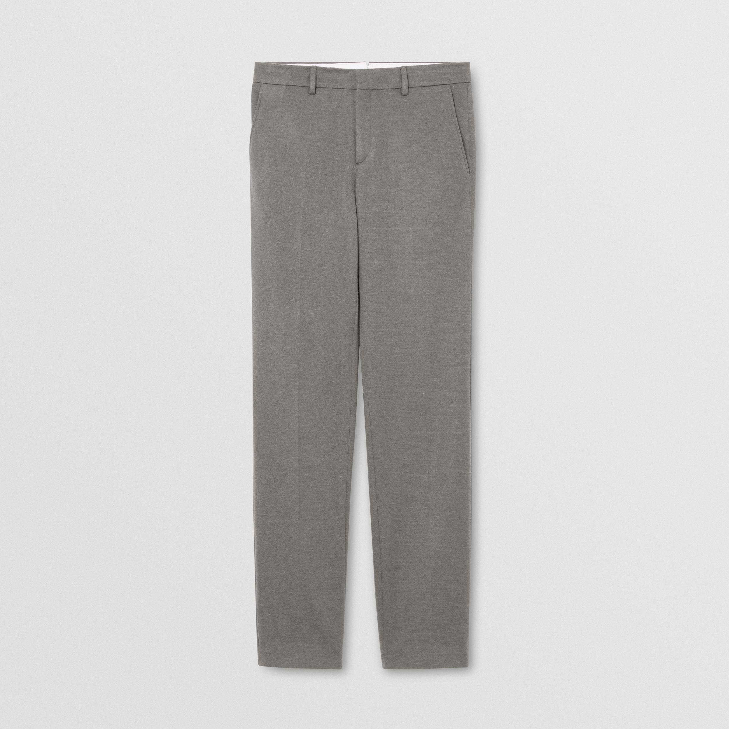 English Fit Cashmere Silk Jersey Tailored Trousers in Cloud Grey - Men | Burberry - 4
